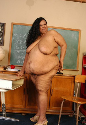 SSBBW Latina teacher Debrina baring incredible saggy boobs and fat rolls