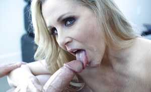 Mature blonde slut Julia Ann taking big cock in shaved pussy with bj finish