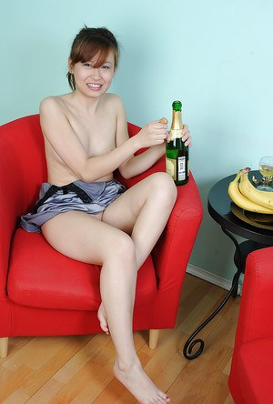 Asian first timer Irena gets drunk and flashes bald cunt before passing out