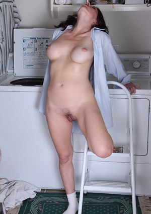 Beautiful mature mommy Arden Delaney having fun in her bathroom