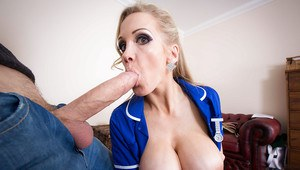 Busty blonde nurse Rebecca Moore wraps her lips around a massive penis