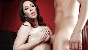 Slutty MILF RayVeness masturbates in a theater and sucks a huge dick