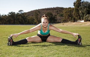 Chunky amateur coed Deidre Collins posing in spandex shorts and knee highs