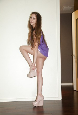 Adorable young amateur Holly Lebranche spreading her long legs