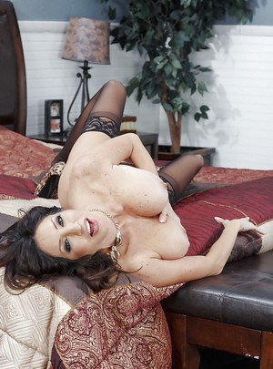 Amazing Latina MILF Tara Holiday showing off her pussy in stockings