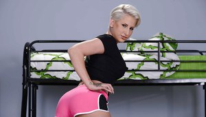 Lusty blonde bombshell Dylan Phoenix showing off her naugthy piercing