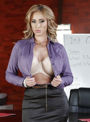 Naturally busty brunette MILF Eva Notty getting kinky in the office