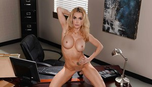 Outstanding big tit blonde Devon playing with herself in the office