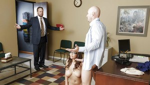 Amazing naturally busty Latina Cassidy Banks sucking dick in an office