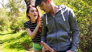 Horny redhead teen Misha Cross stumbling upon a unrefined in the woods
