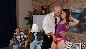Petite girl Riley Reid takes rough doggystyle fucking from massive dick
