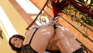 Sexy French maid Syren De Mer toying wet ass with anal beads