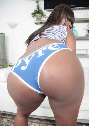 Chubby black chick Kaci Stacks models the latest in phat ass underwear