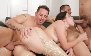 Filthy whore Bobbi Starr taking wicked triple penetration