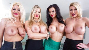 Busty secretaries Jasmine Jae, Leigh Darby and friends flashing hooters