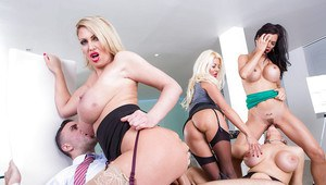 Buxom office chicks reverse gangbang co-worker with the big cock