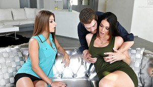 Hot threesome sex featuring busty pornstars Alison Tyler and Dillion Carter