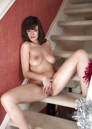 Cute housewife Katie exposing nice all natural tits and hairy bush