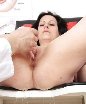 Older woman Lydie is close up examined by perverted gyno doctor
