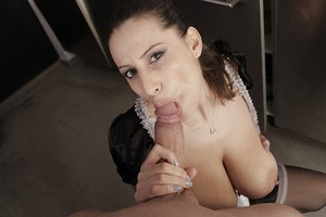 Buxom MILF Sensual Jane posing in French maid's uniform while giving bj