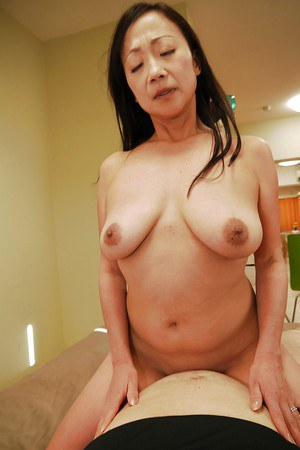 Older Oriental mom Takako MIyai sucking POV cock and riding on top