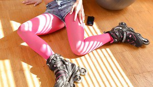 Beautiful young blonde chick Christen Courtney posing in pink pantyhose