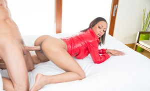 Gorgeous ebony teen Cherry Hilson using shaved black twat to ride cock
