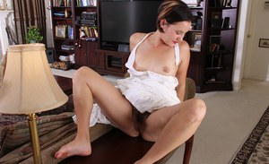 Older mom Sharee Jones fondling breasts while spreading hairy mature cunt