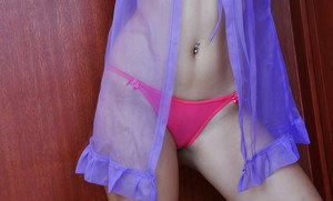 Asian spinner Chelle posing tight butt cheeks in pink thong panties