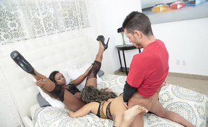 Black girls Naomi Gamble and Vixen Vanity eat pussy and suck white cock