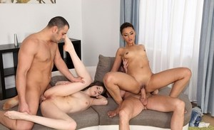 Wild foursome sex action with Euro sluts Anna Taylor and Halona Vog