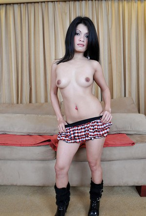 Amateur Asian girl Keithlene posing fully clothed in skirt and boots