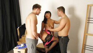 Asian MILF Candy Vivian gives two white guys the fuck of their lives