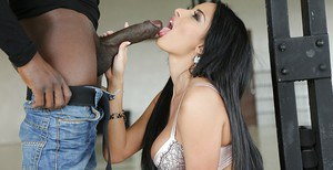 Gorgeous Euro chock Anissa Kate giving a blowjob to a huge black penis
