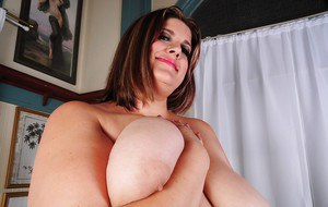 Huge woman Erin flashing super sized pink panties and fat breasts