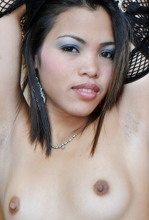 Young Filipino model Chelle making nude modelling debut in mesh stockings