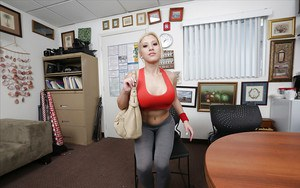 Busty blonde in yoga pants Cristi Ann flashing nice breasts in office