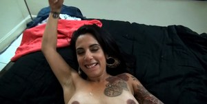 Nice close ups of tattooed Latina Tricsy Star giving titjob and bj