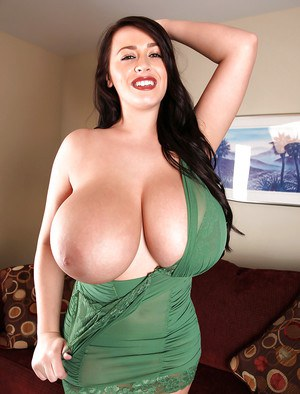 Amazing fatty pornstar Leanne Crow showcasing her giant oiled up boobs