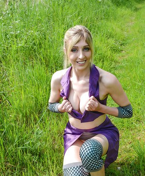 Kinky blonde babe Jessica Jensen playing around in a ninja outfit