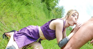 Cosplay loving blonde Jessica Jensen sucking on a cock outdoors