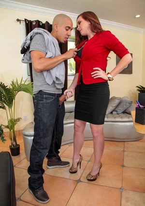Office worker Jessica Rayne flashing panties while sucking off a co-worker