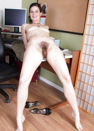 Older secretary Sunshine has quite the hairy vagina underneath skirt