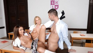 Young schoolgirls Alexis Brill and Kiara Lord going down on their teacher