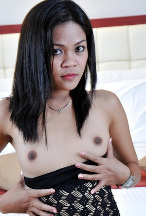 Tiny Asian first timer Jhenny playing with her small breasts