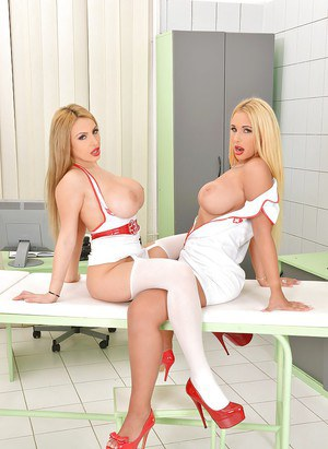 Buxom lesbian nurses Anastasia Sweet and Kyra Hot licking nipples