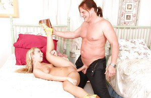 Young blonde slut Alina West getting fucked by a muscular older man