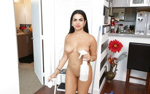 Buxom Latina maid Ada Sanchez walking around house naked as can be