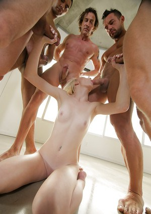 Pale blonde amateur Maddy Rose getting gangbanged by five big dicks