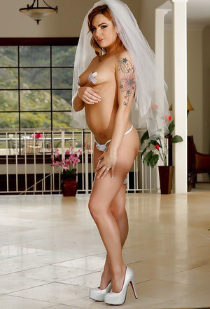 Hairy brunette bombshell Dahlia Sky getting ready for her wedding